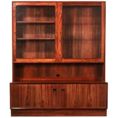 Rosewood Danish Modern Display Cabinet and Credenza, circa 1960s