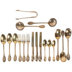 Odiot French Sterling Vermeil Dessert Flatware Set of 77 Pieces