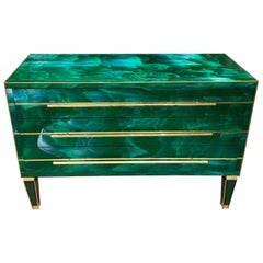 Green Malachite Effect Opaline Glass Chest of Drawers Brass Details, 1980s