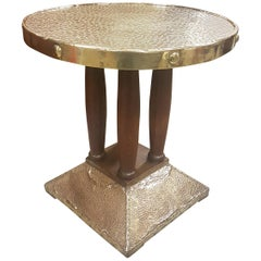 Oak and Brass Secessionist Table in the Manner of Josef Hoffmann