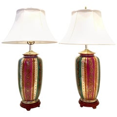 Pair of 20th Century Porcelain and 22-Karat Gilt Gold Chinese Lamps