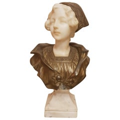 G. Vaerenbergh Belgio Sculptor in Alabaster and Bronze Bust, 1890s