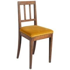 Solid Walnut Upholstered Chair, Italy, Early 1800