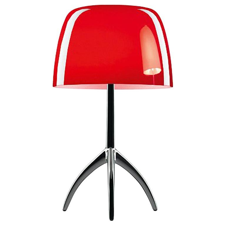 Foscarini Lumiere Large Table Lamp In Cherry Red And Black Chrome