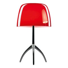 Foscarini Lumiere Small Table Lamp in Cherry Red and Black Chrome