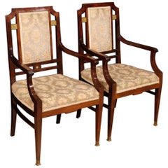 20th Century Mahogany Wood French Art Deco Pair of Armchairs, 1930