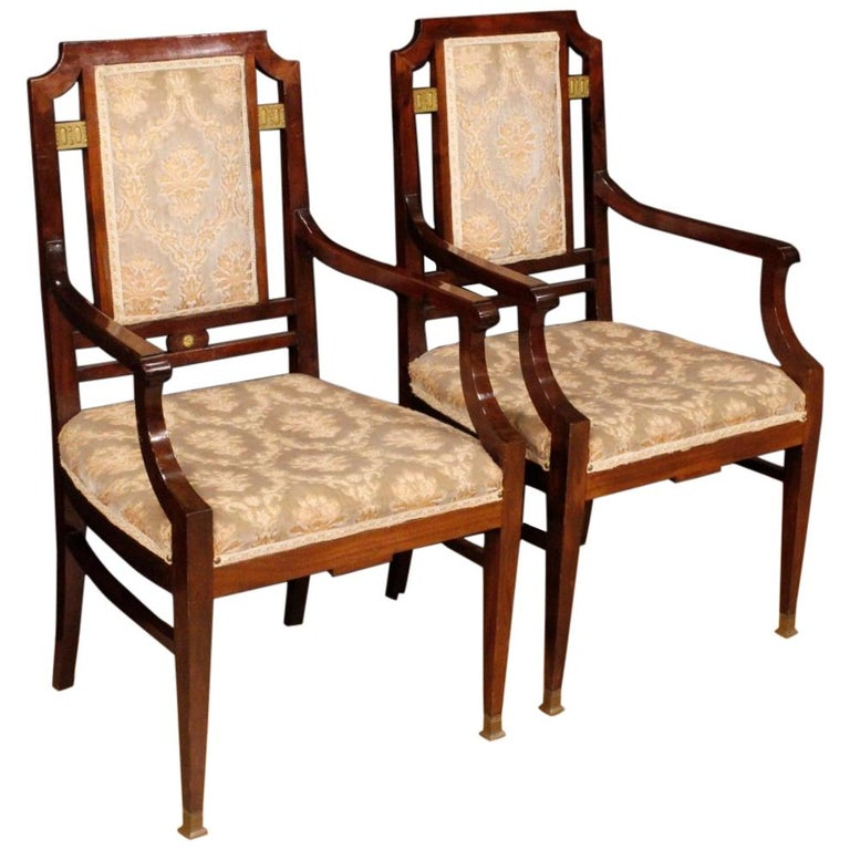 20th Century Mahogany Wood French Art Deco Pair of Armchairs, 1930 For Sale