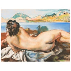 Pastel of a Nude in a Landscape