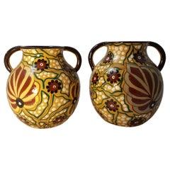 Bini Italien Art-Deco-paar signierte Keramik Vasen, 1920er Jahre