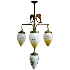 Antique Art Nouveau Brass Chandelier with Hand Painted Glass Shades