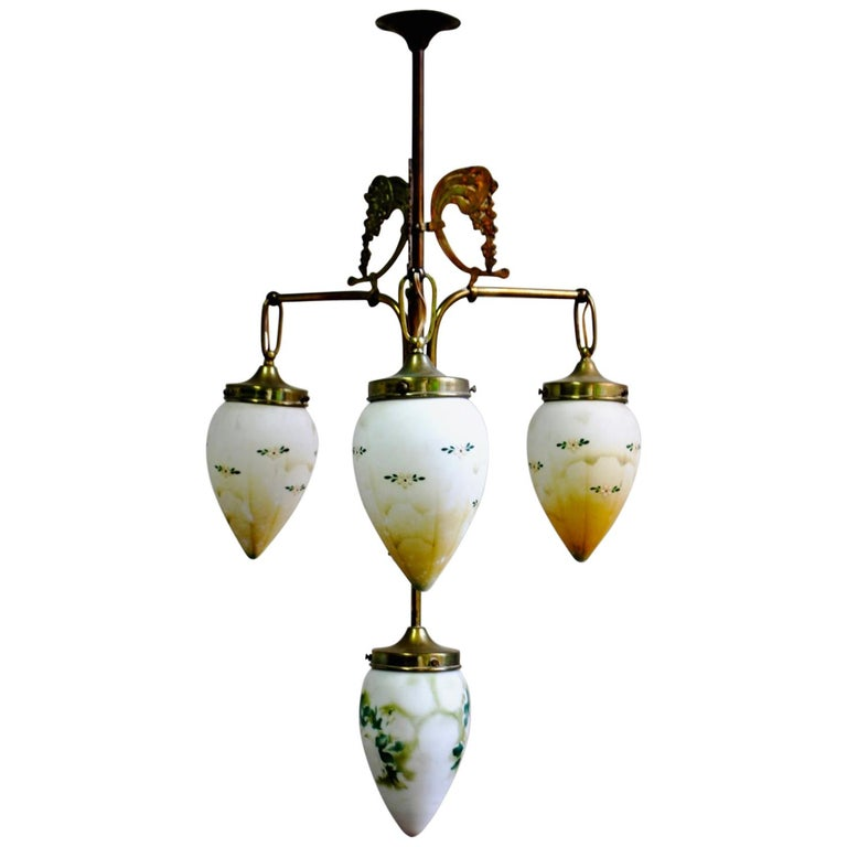 Antique Art Nouveau Brass Chandelier with Hand Painted Glass Shades For Sale