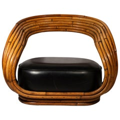 Giovanni Travasa, Eva Armchair, Bamboo and Skaï, circa 1960, Italy