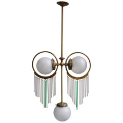 Antique Art Nouveau Brass Chandelier with Frosted Glass Shades, 1910s