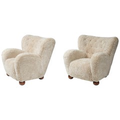Marta Blomstedt 1930s Pair of Wing Chairs for Hotel Aulanko