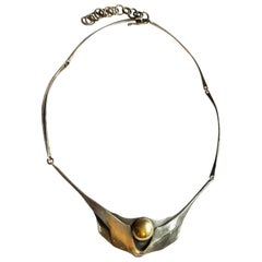 Art Deco Sterling Silver Collier by Ivan Chmetz, Mid-Century Modern Swiss