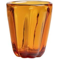 Yali Murano Hand Blown Fiori Conico Vase Amber