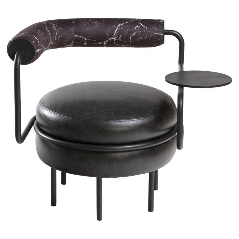 Macaron, One Armed Mid-Century Modern Leather Chair For Sale