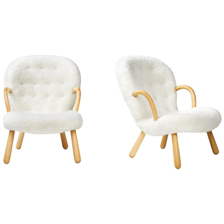 Philip Arctander Pair of Clam Chairs, 1950s For Sale