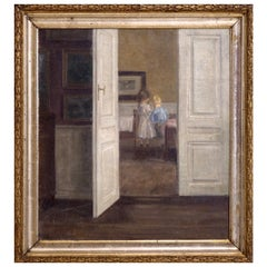 Important Interior Painting of Boy and Girl, Style of Wilhelms Hammershøj