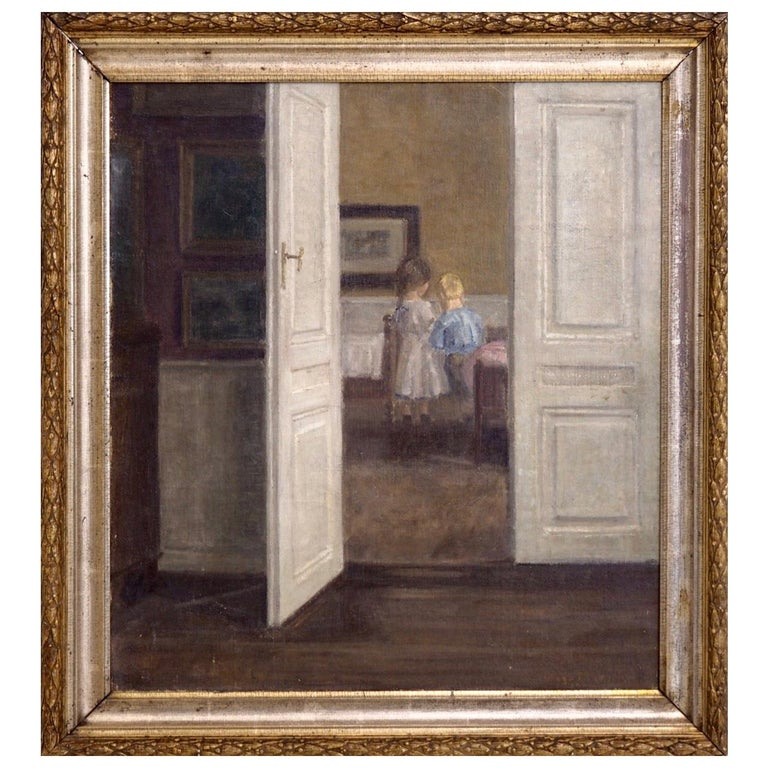 Important Interior Painting of Boy and Girl, Style of Wilhelms Hammershøj For Sale