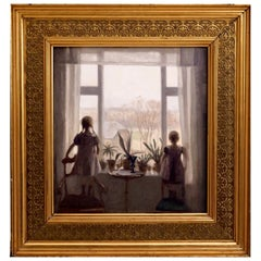 "Charming Interior Painting of Two Children, Signed ""Carl V. Meyer '08"""