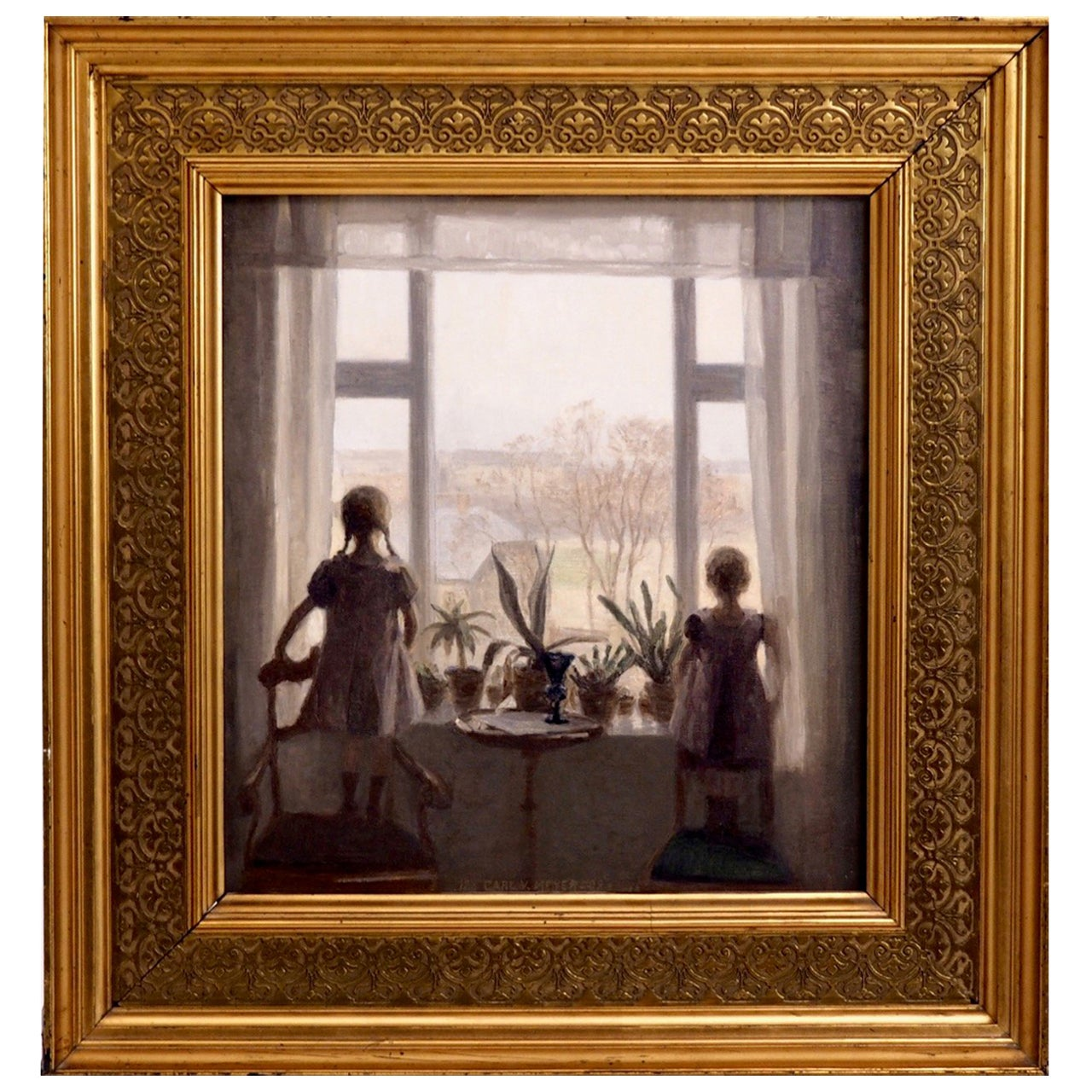"""Charming Interior Painting of Two Children, Signed """"Carl V. Meyer '08"""""""