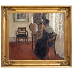 "Danish Interior Painting by Aage Lund, Signed ""Aage Lund '17"""