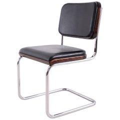 "Bauhaus Upholstered Tubular-Steel Cantilever ""Cesca"" Chair by Marcel Breuer"
