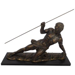 Art Deco Spear Thrower Powerful Male Figure, Bronzed Plaster Marble Base