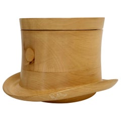 Vintage Top Hat Ice Bucket in Wood, in the Style of Aldo Tura Italy, 1970s
