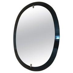 Veca Vintage Fontana Arte Style Oval Blue Glass Italian Wall Mirror, 1960s
