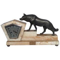 Art Deco Sculptural Fox Clock French, circa 1930