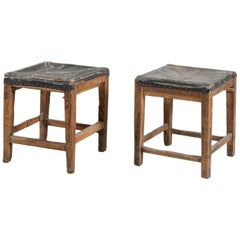 Pair of Solid Spruce Stools, Italy, Early 1800