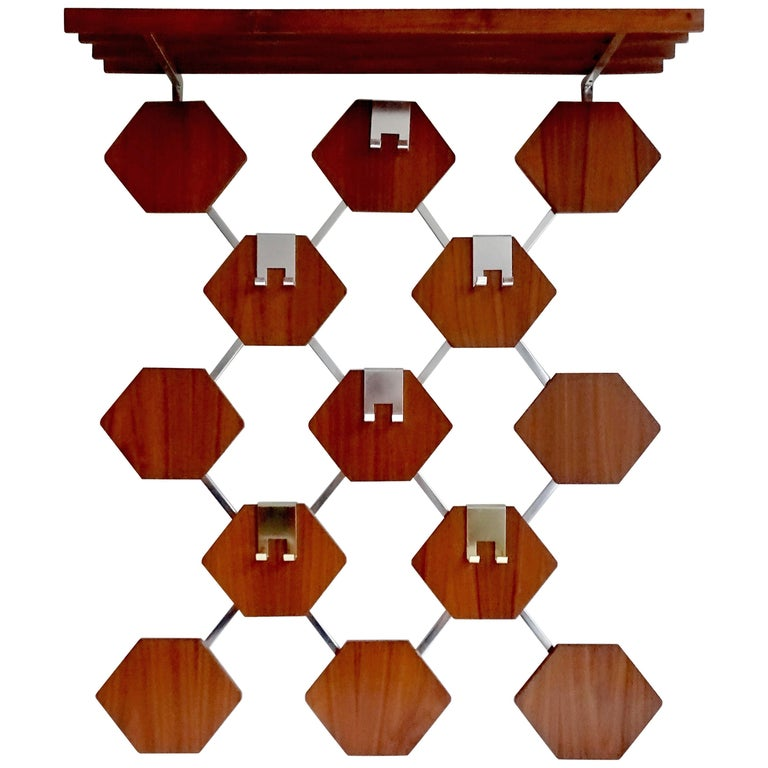 Large Midcentury Danish Modern Wall Mounted Teak Coat Rack, 1960s For Sale