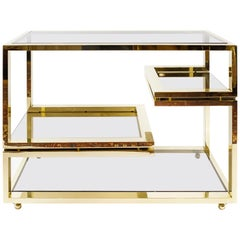 Midcentury Italian Brass and Glass Serving Table, circa 1960