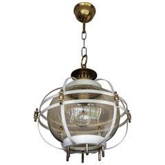 Rare Mid-Century Modern Metal & Brass & Mouthblown Glass Design Pendant Light
