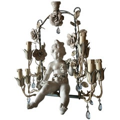 French Huge Porcelain Cherub Swinging Roses Chandelier Blue Tole, circa 1920
