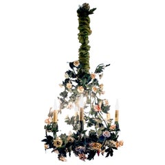Louis XV Style Polychrome Porcelain Flowers Chandelier, circa 1900