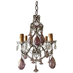 French Amethyst Murano Huge Blown Pears & Flowers Crystal Chandelier, circa 1930