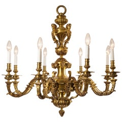 19th Century French Brass 8-Light Chandelier in Style of André-Charles Boulle
