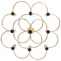 Midcentury 9-Light Brass Flush Mount Chandelier by Gaetano Sciolari, 1970s