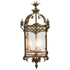 Large Mid-20th Century Brass Lantern