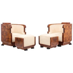 Pair of Italian Art Deco Armchairs and Stools