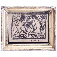 Chalk Drawing with Original Silver Frame, Signed