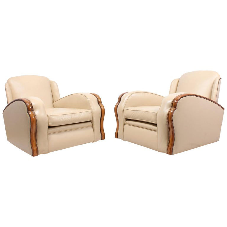 Pair of Art Deco Tank Armchairs in Leather 1