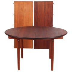 Hans J. Wegner Round Dining Table, with Two Extensions Plate, PP70, Mahogany
