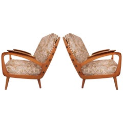 Dutch Modern Carved Armchairs with New Rubelli Upholstery, circa 1950s