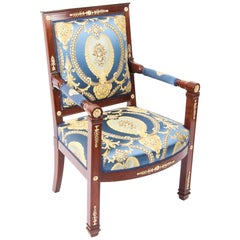 Antique Empire Revival Mahogany and Ormolu Mounted Armchair 19th Century
