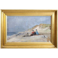 "Charming Painting from Skagen, Denmark, Signed with Monogram ""PH"" Peter Holm"