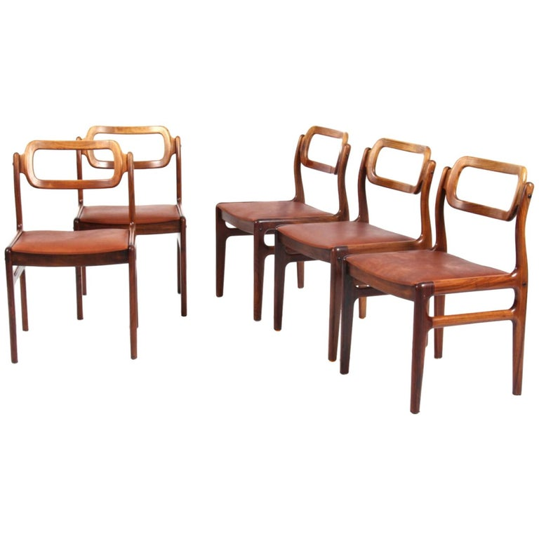1960s Johannes Andersen Five Dining Chairs for Uldum Møbelfabrik, Rosewood For Sale
